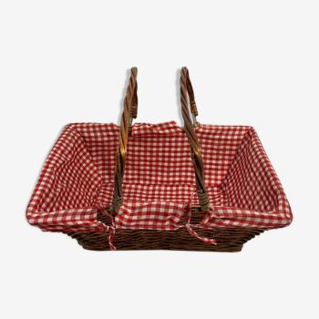 Panier en osier rectangulaire tissu motifs carrés rouges et blancs