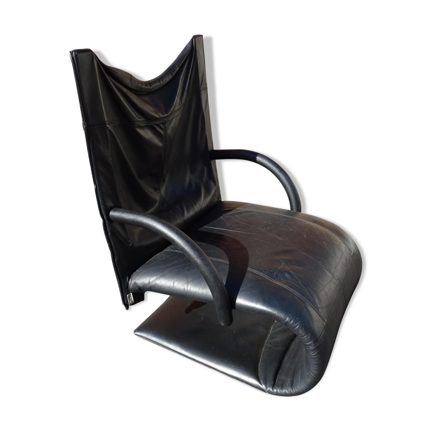 Fauteuil cuir modèle Zen Claude Brisson Ligne Roset an 80