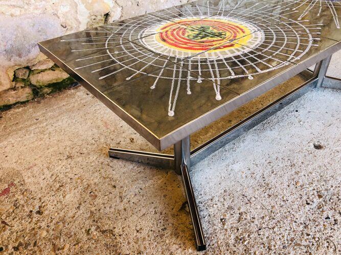 Table basse en céramique et chrome circa 1970