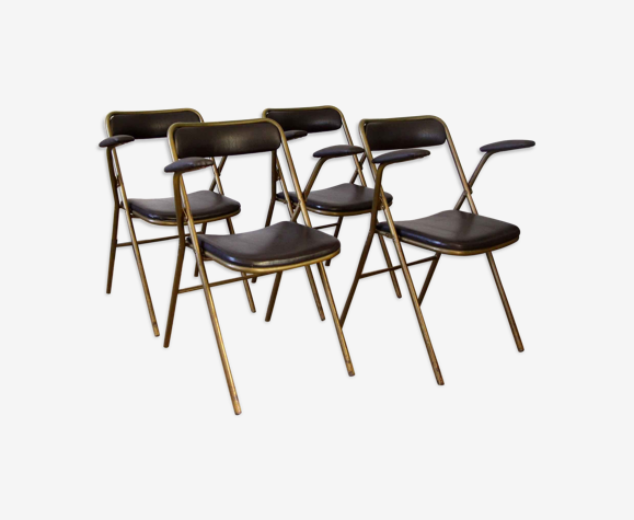 Lot de 4 chaises pliantes métal et skaï