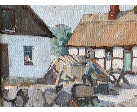 Peinture à l'huile - the wood chopper