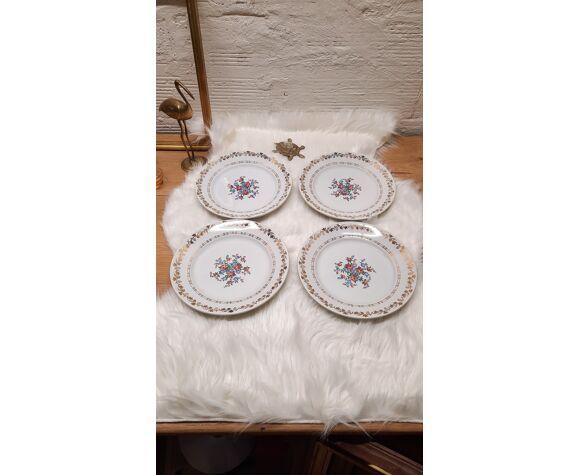 Set 4 assiettes plates bouquet de fleurs