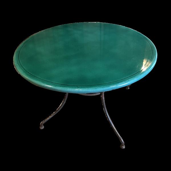 Table ronde en lave verte émaillée d'extérieur ou d'intérieur
