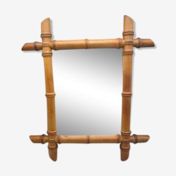 Miroir bambou ancien 37x43cm