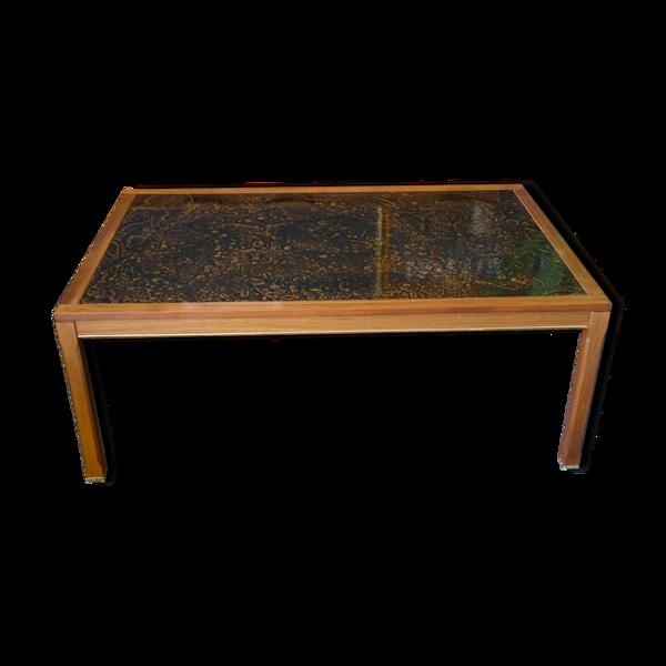 Table basse bois de rose & résine