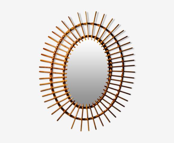Miroir soleil en rotin 48x60cm