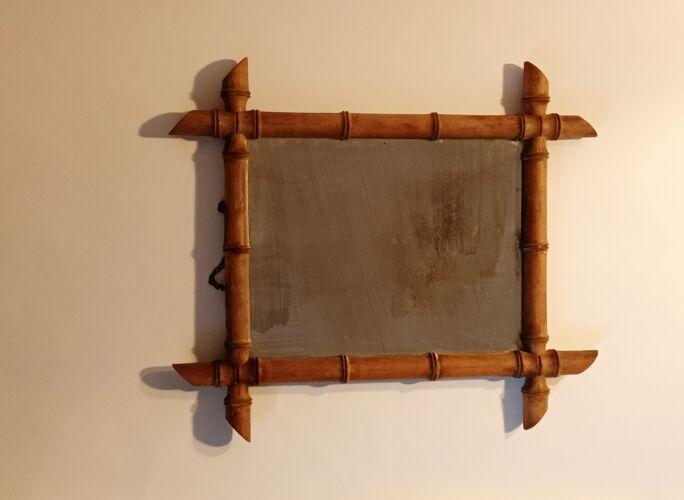 Miroir de barbier en bambou vintage 38x40cm