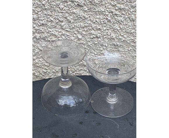 6 coupes à champagne en verre transparent vintage