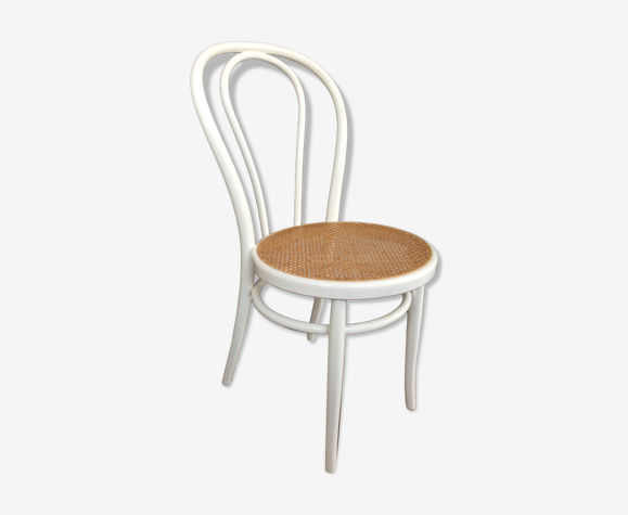 Chaise bistrot en bois blanc et cannage des années 70