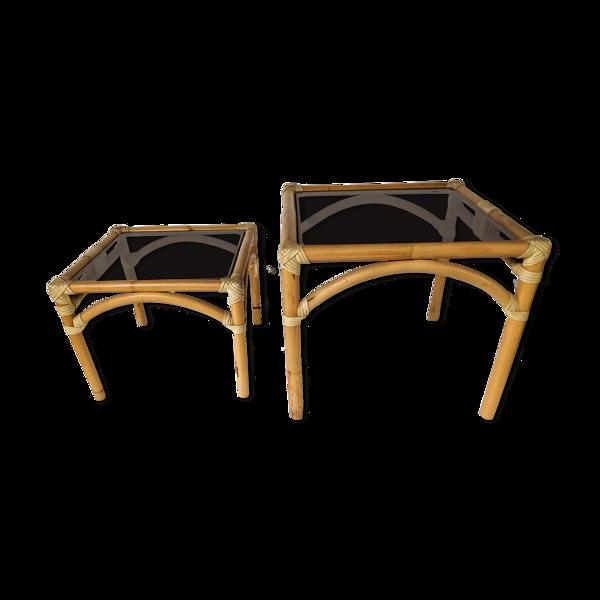 Deux tables basse empilables bout de canapé en rotin et bambou Maugrion
