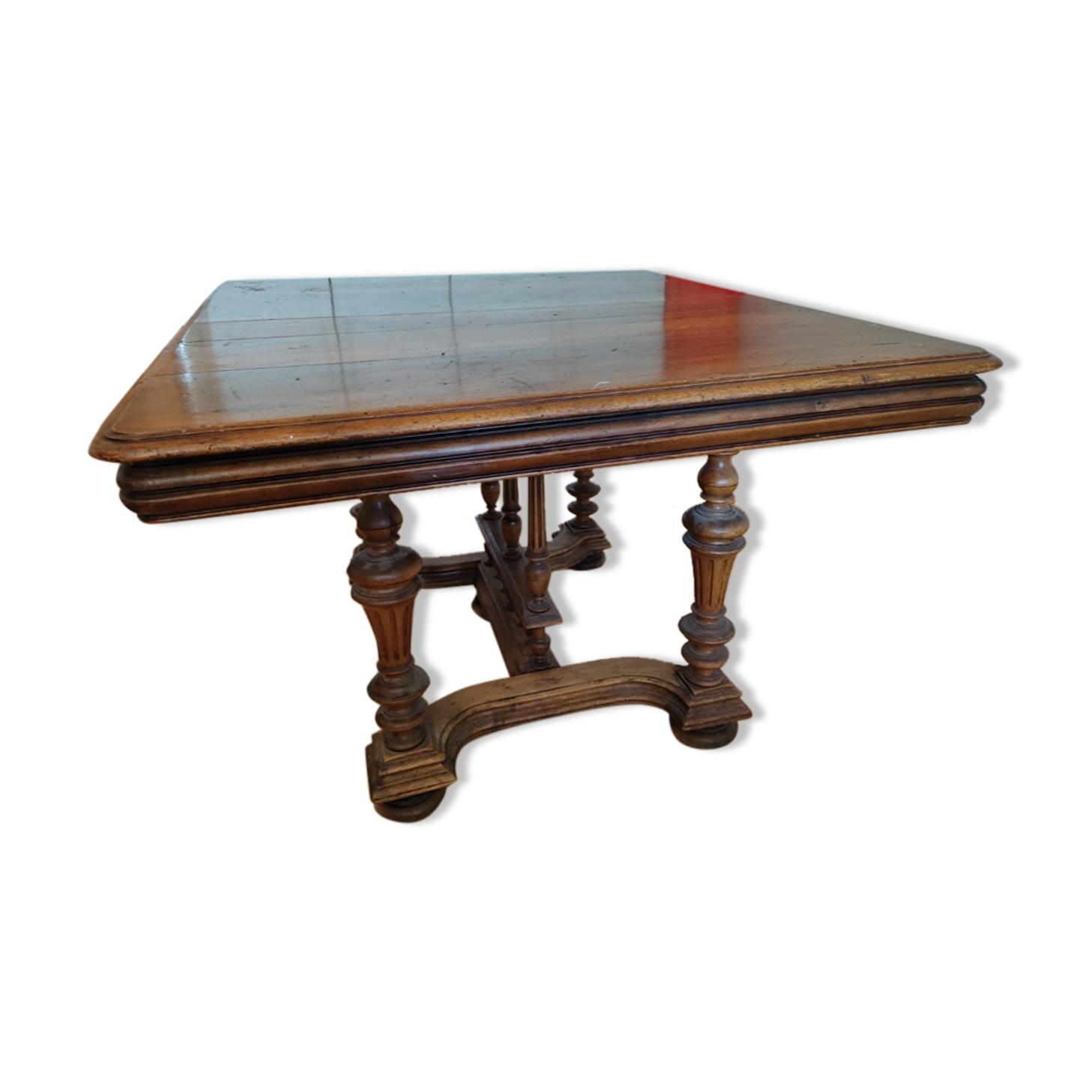 Table Henry II en bois de chêne, extensible (dimensions 105/105 cm, standards extensible)