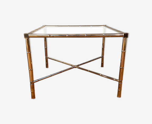 Table basse bambou argenté Hollywood Regency