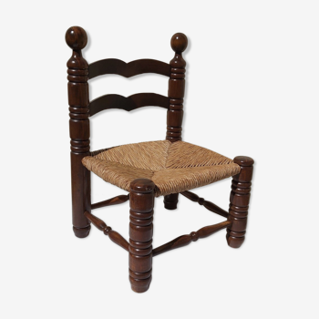 Chaise basse style campagnard rustique années 40