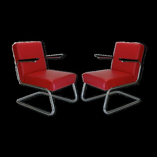 Paire de fauteuils moderniste S M 6,  Maison Drabert, en cuir, Bauhaus 1930