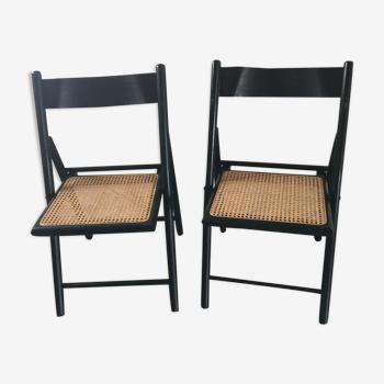 Chaises pliantes cannées