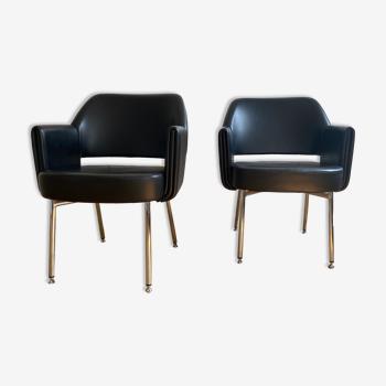 Ensemble de deux fauteuils club «Deauville» vintage