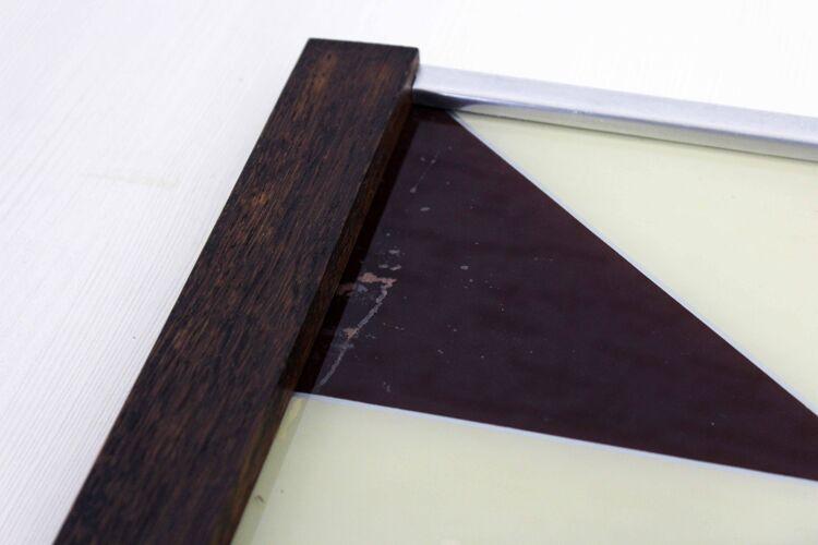Plateau Art Déco bois et verre peint
