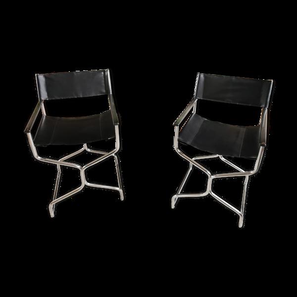 Paire de fauteuils vintage style metteur en scène métal