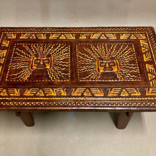 Table basse bois marron et cuir A.Pazmino equateur 1960