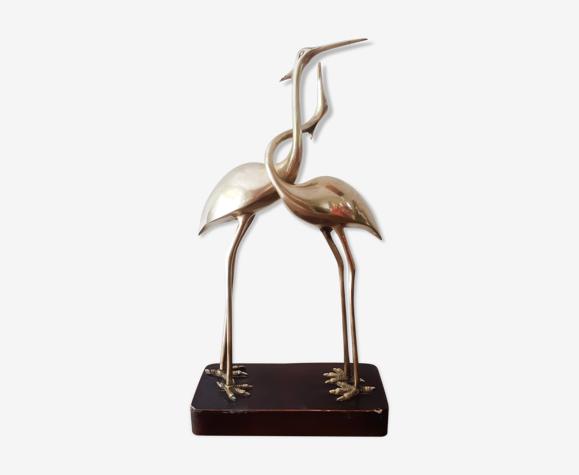 Couple d'échassiers oiseaux en laiton sur socle bois