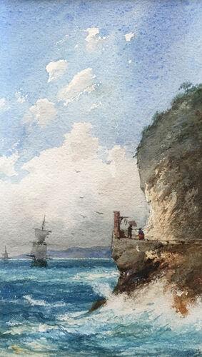 Tableau aquarelle Pierre Comba (1859-1934) Marine bord de côte animée