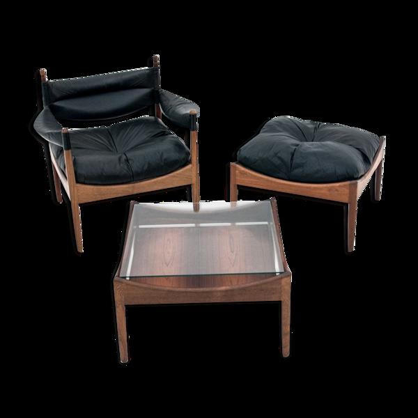 Fauteuil, tabouret et table de Kristian Vedel pour Søren Willadsen Møbelfabrik, 1963
