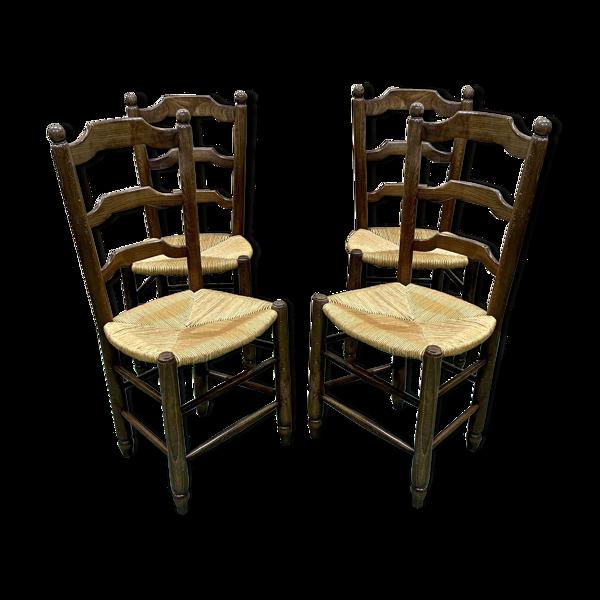 Selency Suite de 4 chaises paillées en hêtre des années 1950