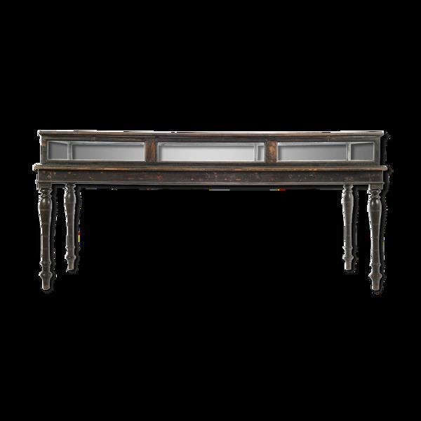 Selency Table présentoir vitré en bois sombre
