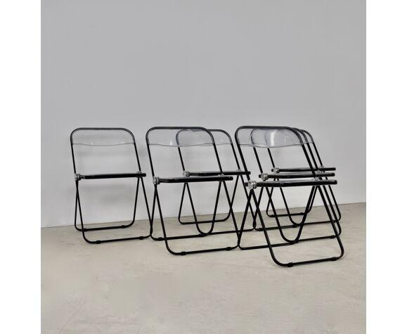Ensemble de 6 chaises Plia par Giancarlo Piretti pour Castelli, 1970