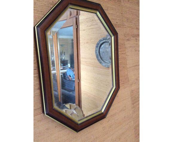 Miroir octogonal en bois 50x40cm