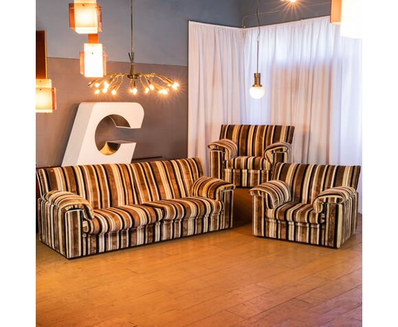 Ensemble canapé 2 fauteuils velours côtelé design années 70