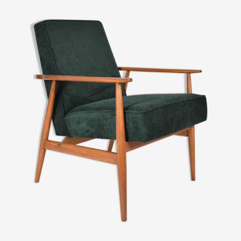 Fauteuil poli d'origine vintage «Fox» conçu par H. Lis années 1970, tissu vert forêt, restauré