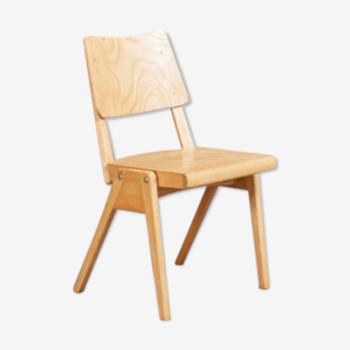 Chaise en hêtre massif et pieds compas années 50