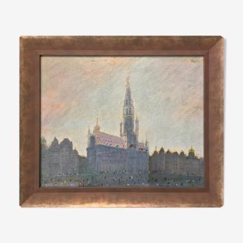 Tableau peint à l'huile sur panneau représentant la Grand Place de Bruxelles en Belgique