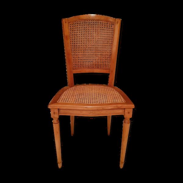 Chaise en merisier cannée