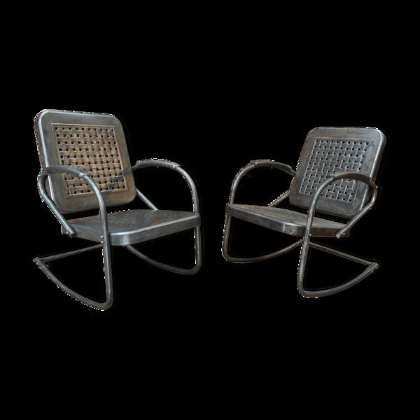 Set de 2 rocking chairs mid-century en métal Etats-unis 1950s