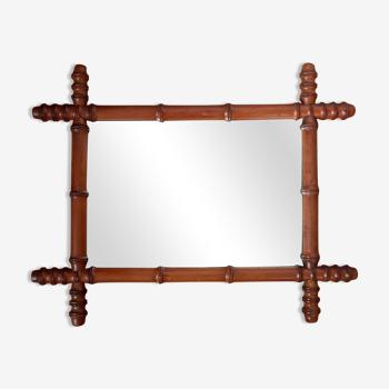 Miroir en bois tourné début 20 ème 56x45cm