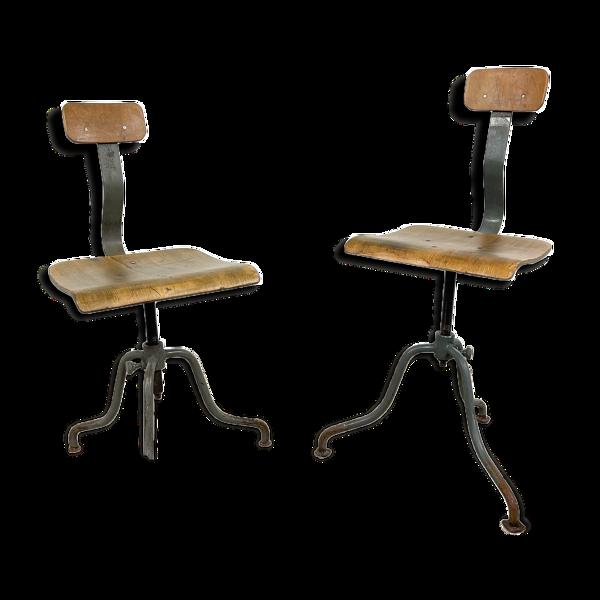 Paire de 2 chaises industrielles