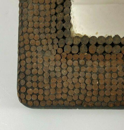 Miroir art deco 1940 ferronnerie cloute tendance vintage 11x12cm