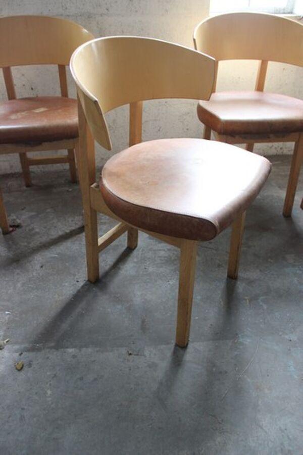 Lot de 4 chaises années 1980, cuir marron clair