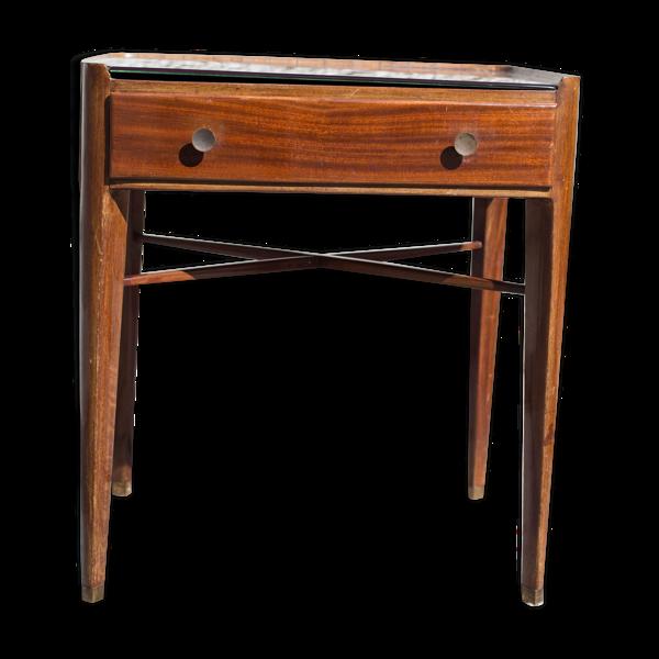 Table Art déco en acajou plateau verre fumé