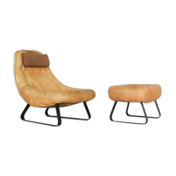 Brazilian Land Armchair and Ottoman by Percival Lafer for MP Lafer 1970s
