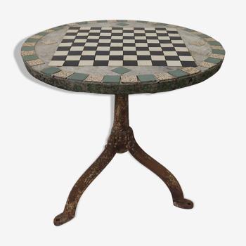 Table de jardin ancienne pieds fonte et plateau béton