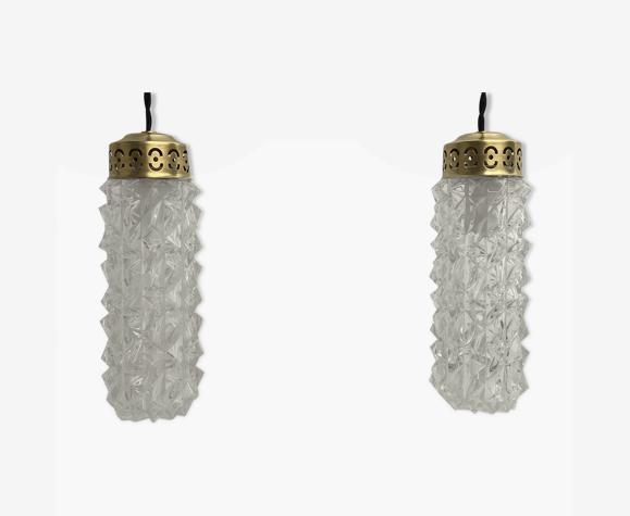 Lot 2 lampes suspensions verre moulé vintage