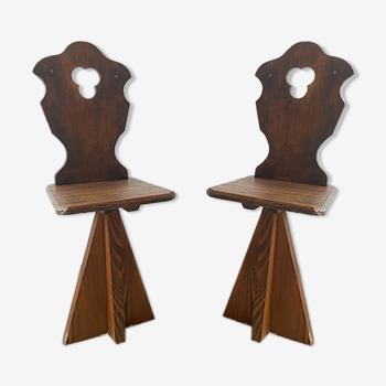 Paire de chaises bois brutaliste