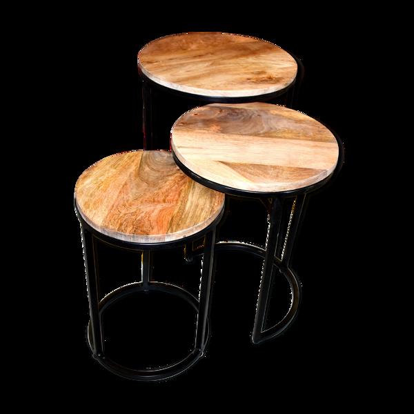 Tables basses gigognes en bois exotique (bois de manguier massif)