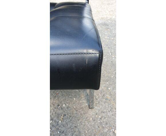 Lot de 3 fauteuils lounge 'capiton' noir