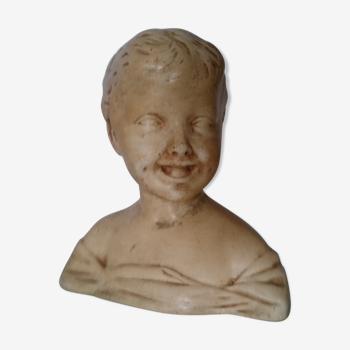 Buste en plâtre l'enfant rieur d'après Donatello