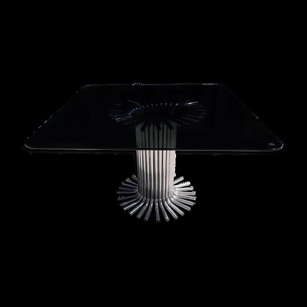 Table plateau verre fumé et pied chromé