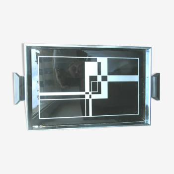 Plateau stylisé art décoverre noir et argenttour métal 2 poignées